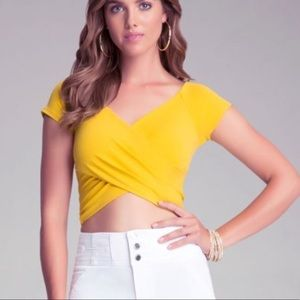 Bebe yellow crop top off shoulders Bebe